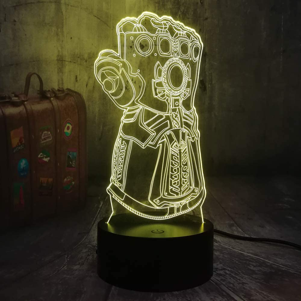 The Avengers Marvel Comics Super Infinity Gauntlet VillainThanos 3D Optical Illusion Night Light Mood 3D Table Lamp Bedroom Decor Kids Toys New Year Christmas Gift Baby Sleep Lamp(Infinity Gauntlet)