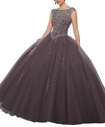 6c5ca5aa7 MeetUDress Women s Boat Neck Beaded Ball Gowns Girls Sweet 16 Quinceanera  Dresses M44 Black 2