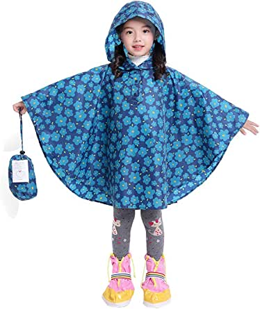 Kids Rain Poncho Raincoat for Girls Boys