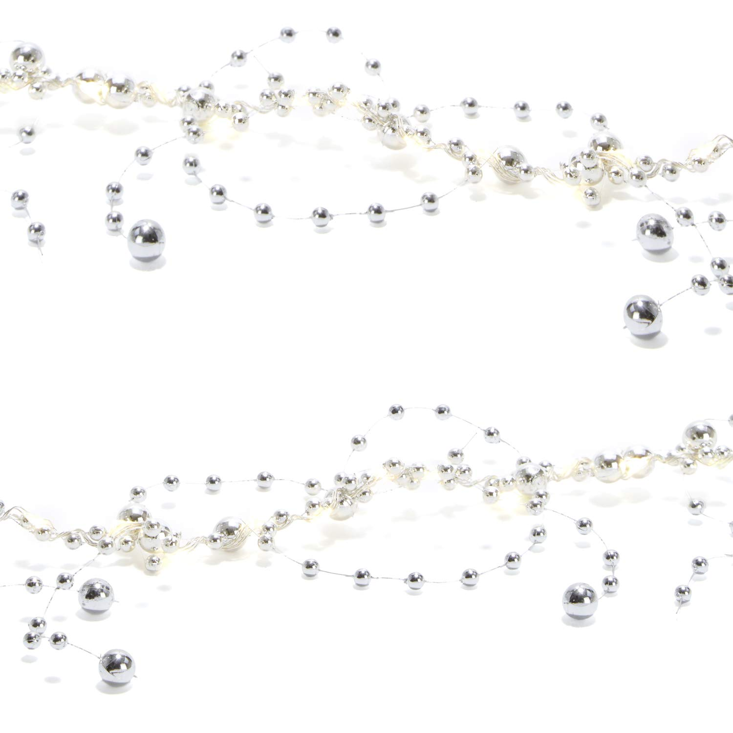 LampLust LED Garland String Light with Acrylic Crystal Beads 7.5 ft Timer Option Available Warm White Glow Battery Operated