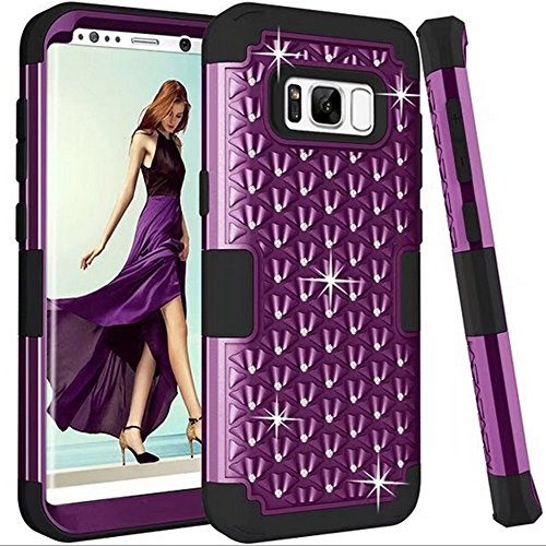 Samsung S8 Full Body Hard Case-Auroralove Purple 3 in 1 Sleek Shockproof Armor Bling Rhinestone Case for Samsung S8 [Front TPU +Soft Rubber Layer+ PC Hard (Rubberized Purple Rhinestones)