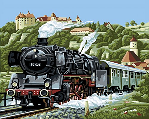 2 Steam Locomotive Number (Wooden Framed Paint by Number or Not - New Release Diy Oil Painting by Numbers - Age-old Steam Locomotive 16*20 inches - PBN Kit for Adults Girls Kids White Christmas Decor Decorations Gifts)