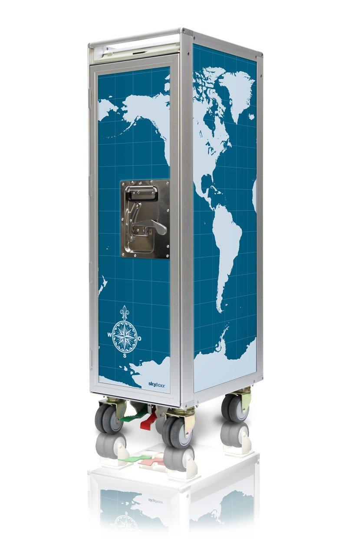 Skyboxx worldmap blue neu Flugzeugtrolley, inklusiv 7 Kunststoffschubladen