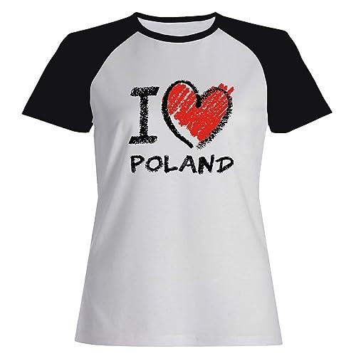 Idakoos I love Poland chalk style - Paesi - Maglietta Raglan Donna