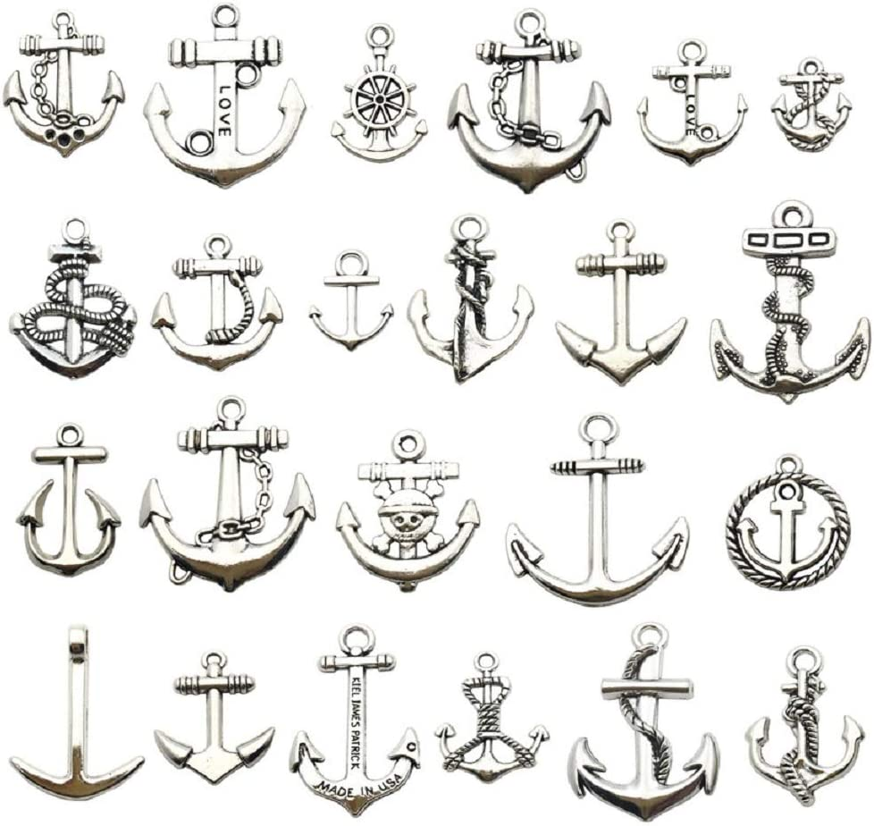 100g (About 50pcs) Craft Supplies Antique Silver Ship Wheel Anchor Charms Pendants for Crafting, Jewelry Findings Making Accessory for DIY Necklace Bracelet (M063)