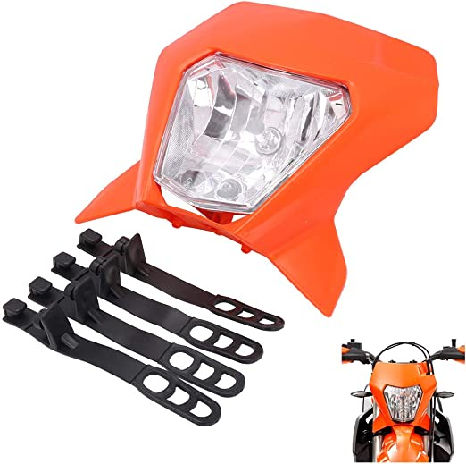 AnXin White Dirt Bike Headlight Motorcycle LED Light Street Fighter Legal Head Light Universal For Dirt Pit Bike Road 12V 35W Enduro Supermoto