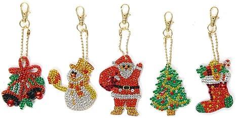 4//5pcs DIY Full Drill Diamond Painting Special Shaped Christmas Bag Key Chain
