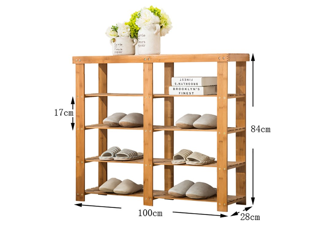 C 100cm shoes Bench Organizing Rack shoes Rack Bamboo Shelves Multi - Layer dust - Proof Solid Wood shoes Rack Assembly Economical Shelves Home Living Room shoes Cabinet (color   B, Size   100cm)