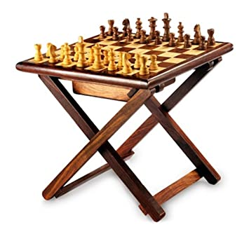 Stylla London Handmade Sheesham Wood Cross Leg Folding Coffee Table Chess  Set Wooden Chess Pieces 12