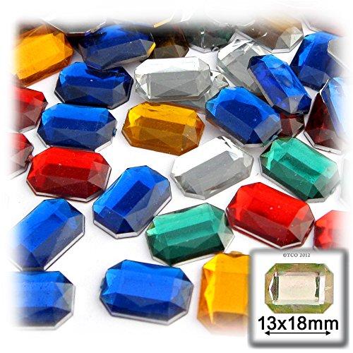 長方形の八角形クラフトアウトレット144品質アクリルアルミ箔フラットバックラインストーン、13by 18mm、混合色の商品画像