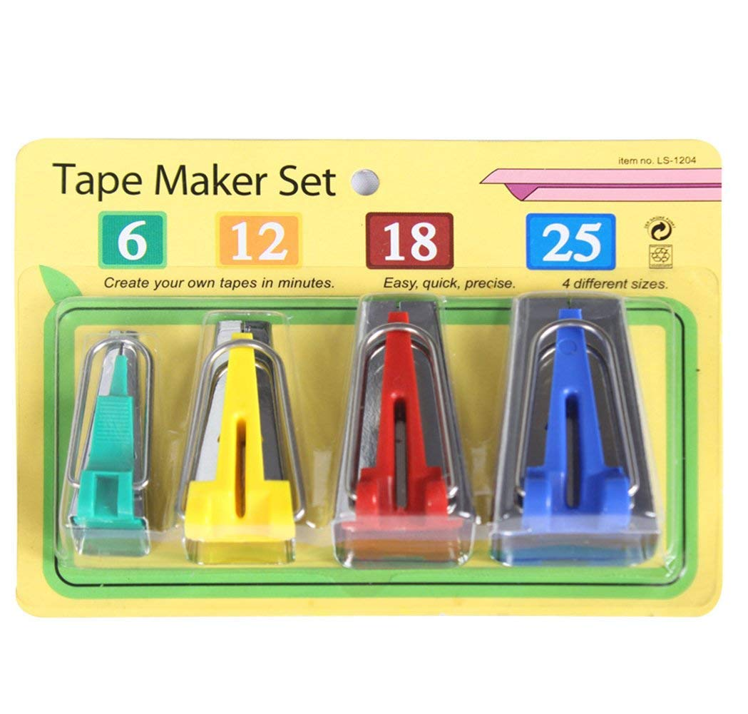 CC-US Set of 4 Size Fabric Bias Tape Maker Tool for Sewing Quilting 6mm 12mm 18mm 25mm C.C-US 4337014159