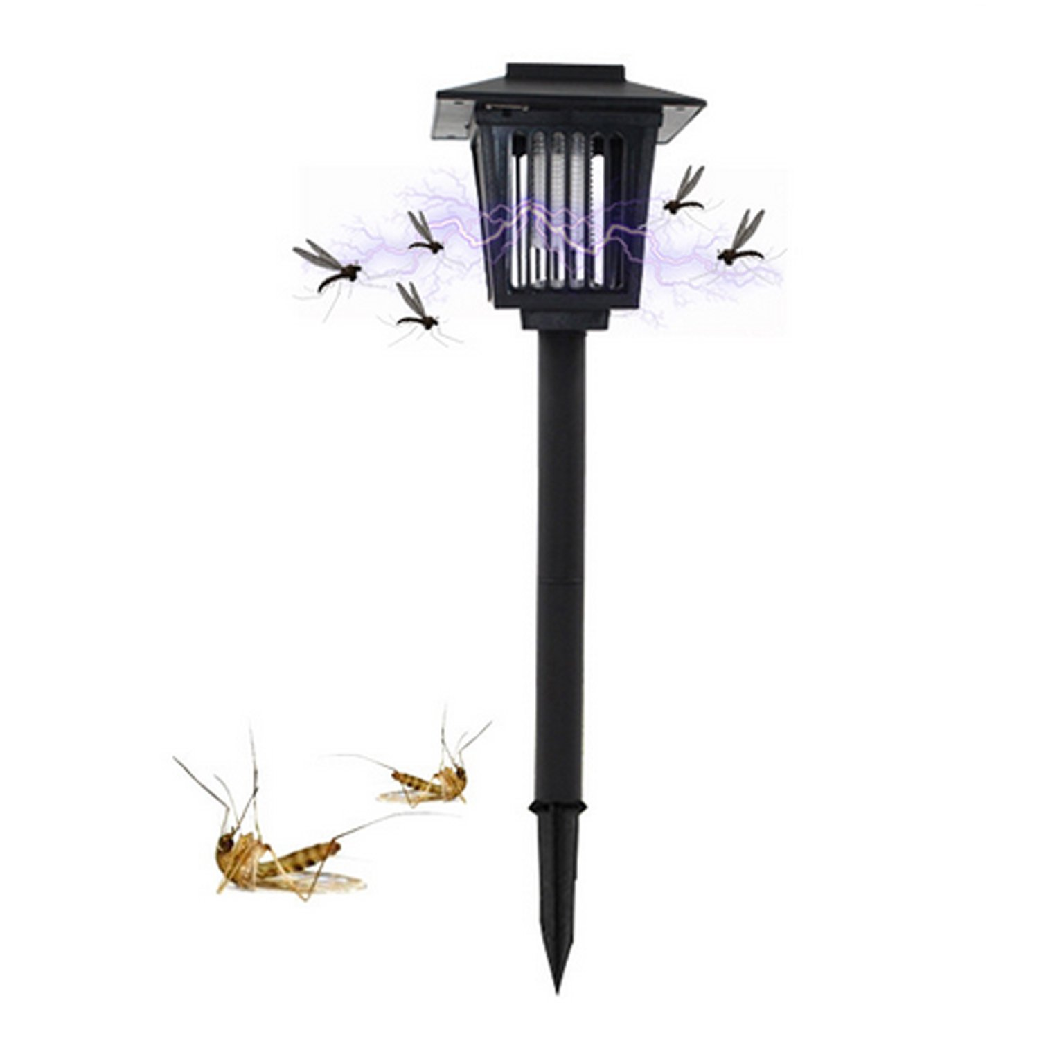Solar Powered Bug Zapper Light, Solar Mosquito Killer Insect Killer Indoor Outdoor Fly Pest Trap Lamp Portable Garden Lawn Light For Garden, Patio, Outdoor Ground Residential, Commercial and Industri