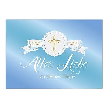 Glückwunschkarte Taufe Mit Umschlagblau Verlauf Kreuz Gold