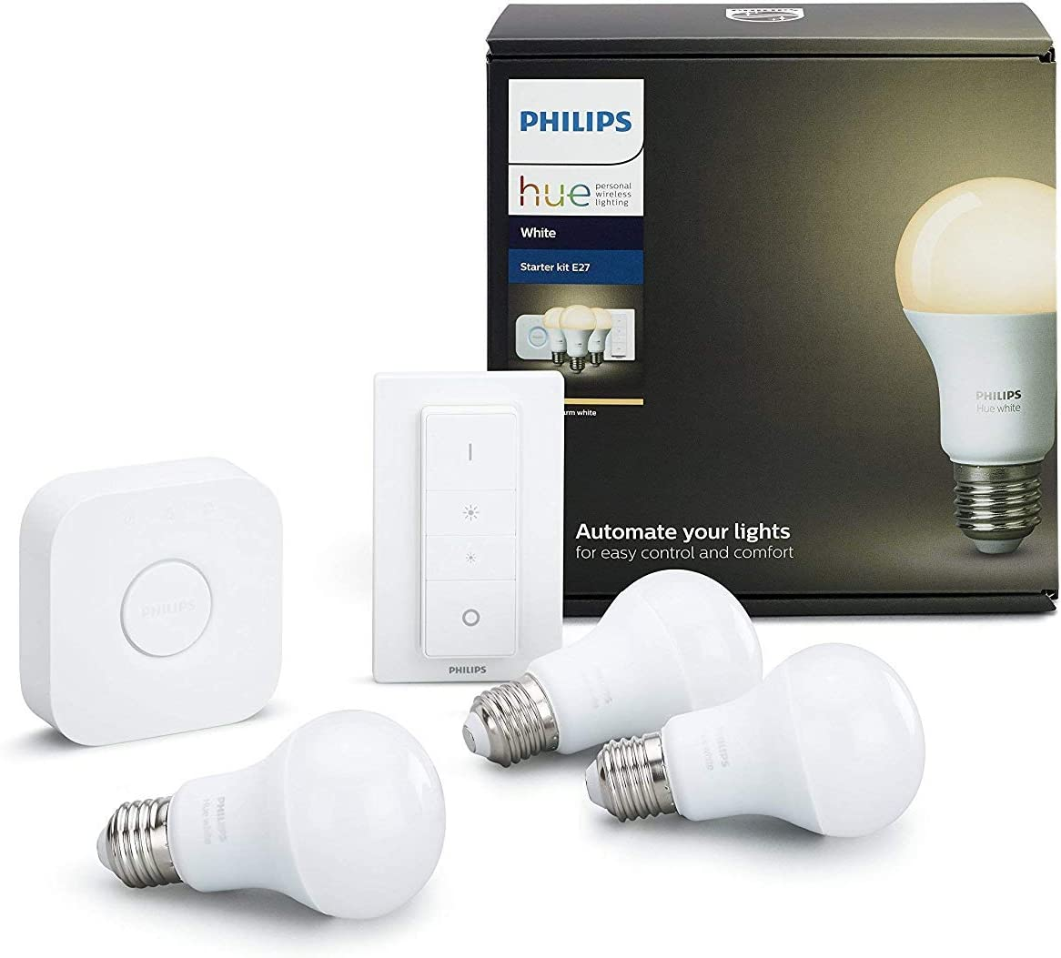 Philips Hue Kit 2 Bombillas Inteligentes LED E27 con Puente y ...