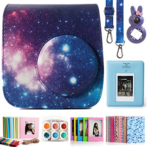 CAIUL Compatible Mini 7s Case Bundle with Album, Filters & Accessories for Fujifilm Instax Mini 7s and Polaroid PIC-300 Camera (Galaxy, 7 Items)