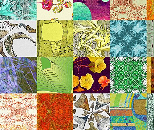Fabric 5-In-Sq-Cheater-Quilt by Wren Leyland Printed on Eco Canvas Fabric by the Yard by Spoonflower (Recycled Wren House)