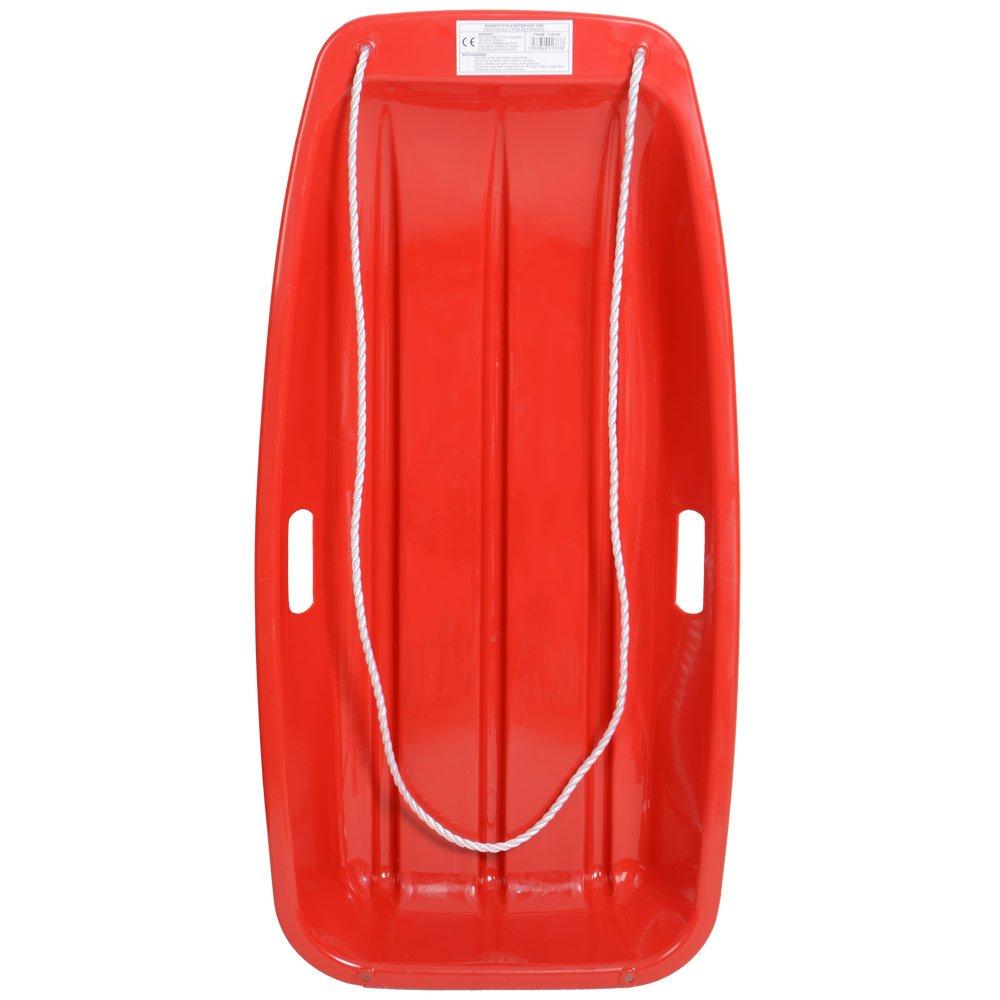 Grande luge en plastique rouge avec corde