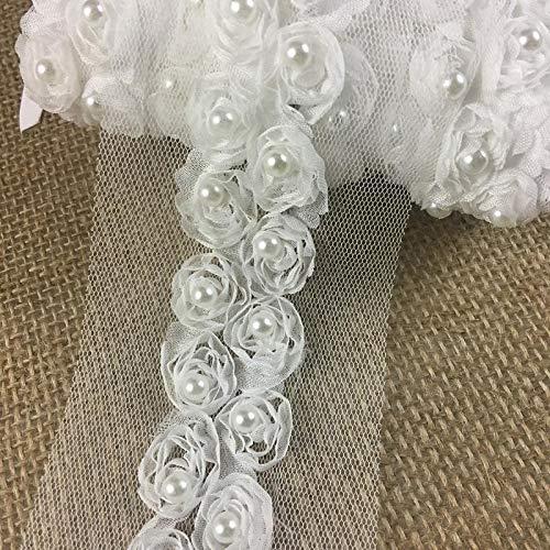 - Chiffon Rosettes Sash Trim Lace Gorgeous Fluffy Soft Chiffon Flowers Pear Bead in Center, 1