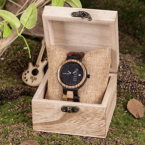 Womens Wooden Watches Colorful Bamboo Watches with Week & Date Display Handmade Natural Wood Casual Wirst Watches for Ladies, Girls, Female Perfect Gift