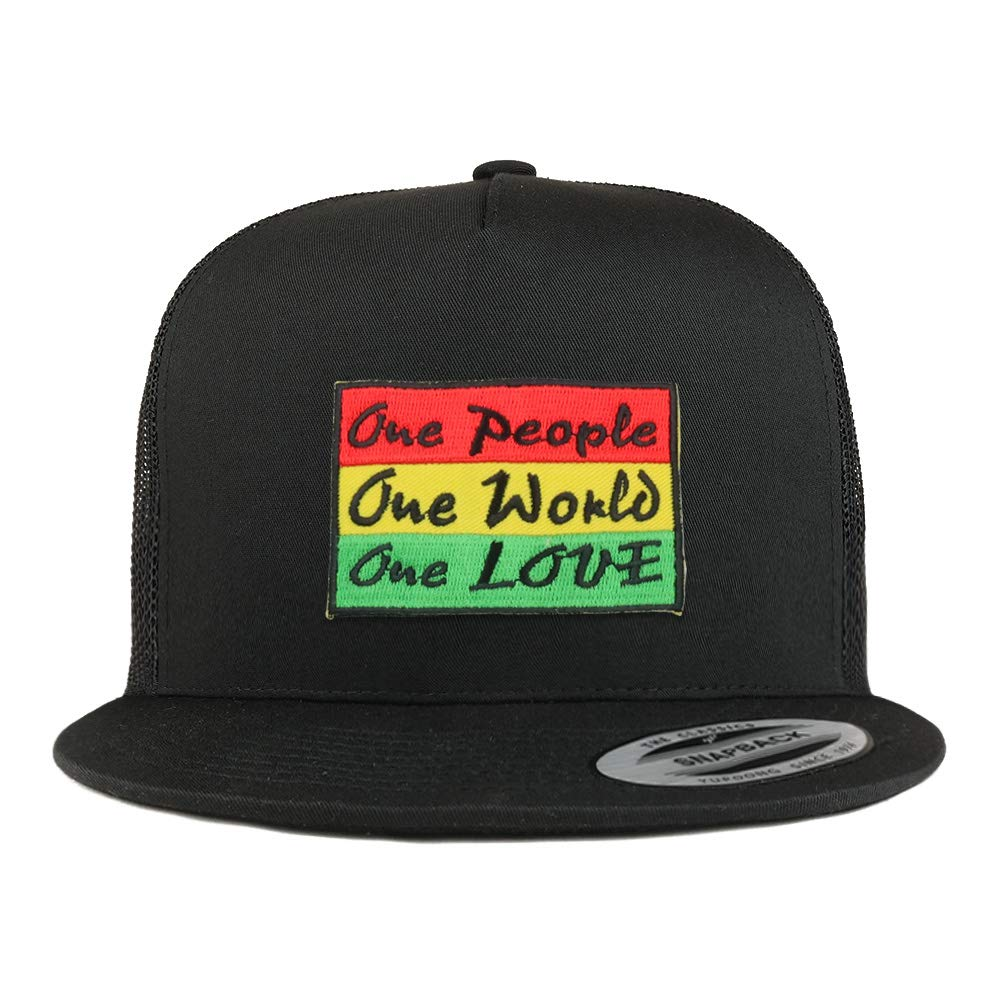 6494ee380 Armycrew 5 Panel Rasta One People One World One Love Patch Flatbill ...