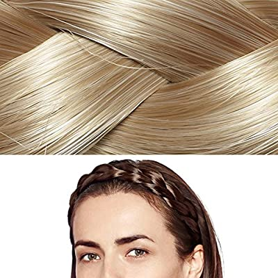 Ty.Hermenlisa Chunky Synthetic Hair Braided Headband Classic Wide Braids Elastic Stretch Hairpiece Women Beauty accessory, 55g
