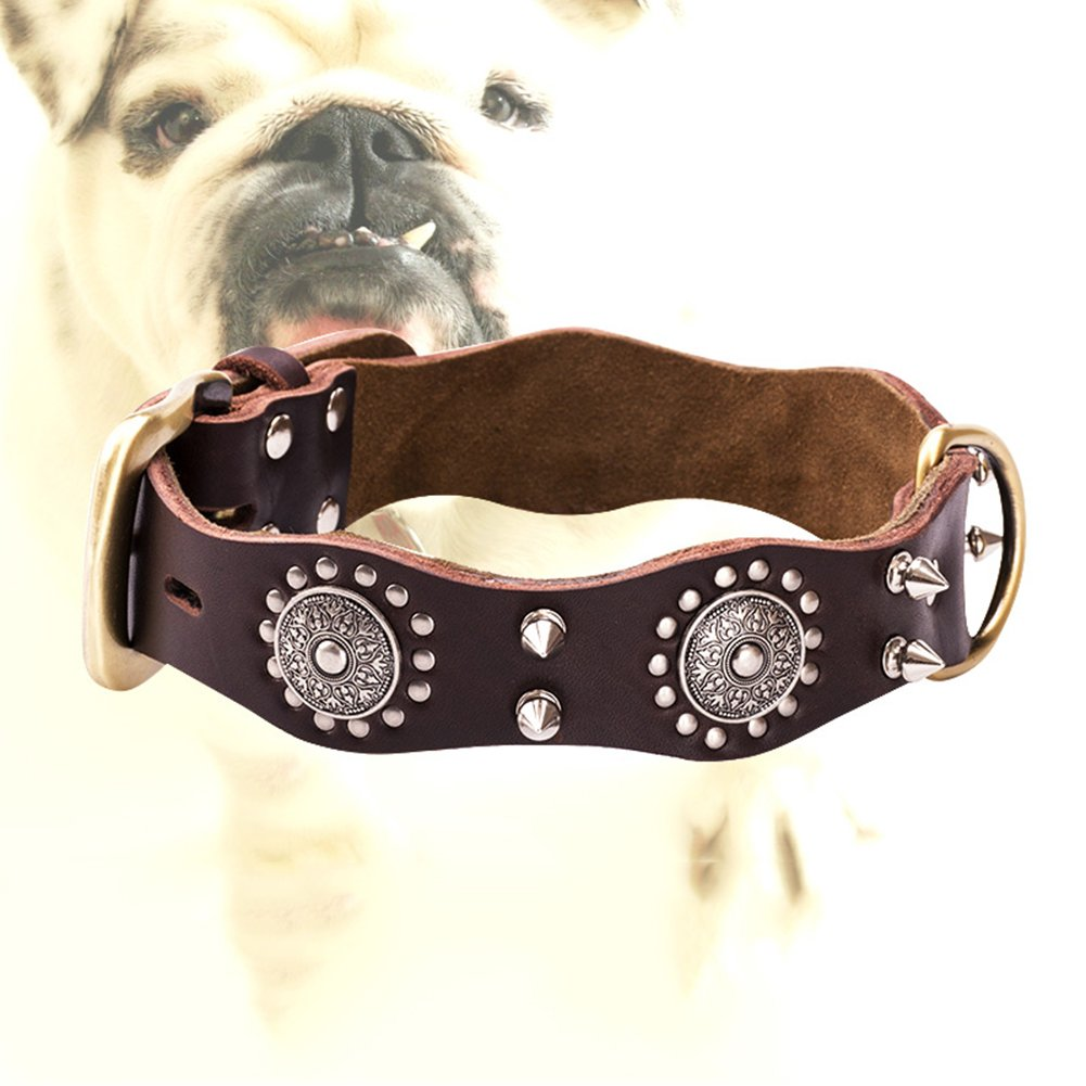 Brown Small Brown Small Safety Dog Collars Pet Wave Edge Dog Collar Dog Collar Pet Traction Explosion Proof Resistance to Pull Bite Resistant Don't Clip Hair XQ-06034
