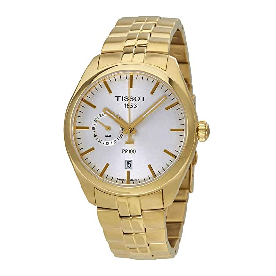 Amazon.com: Tissot PR 100 Dual Time Gold Tone Mens Stainless Steel Watch T1014523303100: Watches