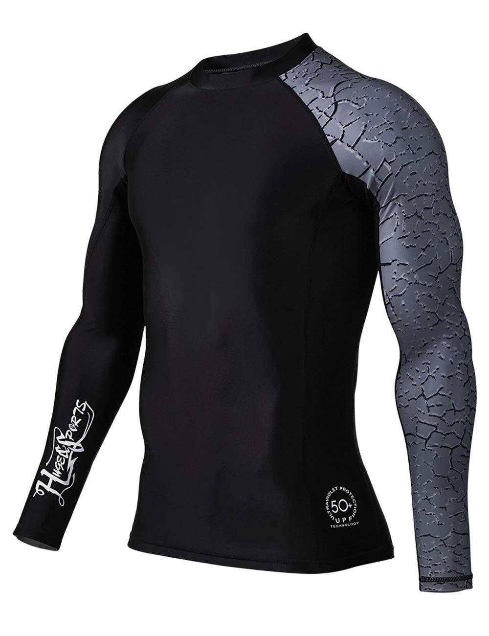 HUGE SPORTS Men's Splice UV Sun Protection UPF 50+ Skins Rash Guard Long Sleeves (Chapped, L) by HUGE SPORTS
