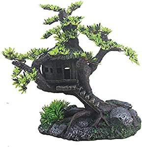ZHZX Aquarium Landscaping Decorative Tree House, Made of Durable Resin Material, Wonderful for The Underwater Environment, Aquariums, Fish Tank, Gardens