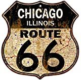 Cheap Great American Memories Chicago, Illinois Route 66 Vintage Look Rustic 12×12 Metal Shield Sign S122284