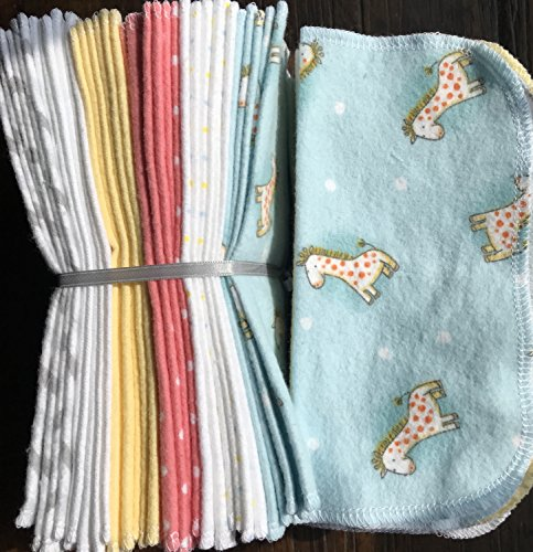 Cloth Baby Wipes Starter Kit. Set of 3 Dozen Wipes. Reusable Cloth Wipes. Baby Shower Gift. Eco Friendly. Reusable Cloth Napkin. Reusable Dryer Sheets. Baby Giraffes on blue.