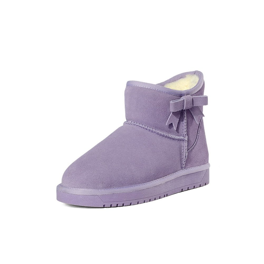 WeenFashion Women's Frosted Round Closed Toe Solid Low-top Low-Heels Snow-Boots, Purple, 35