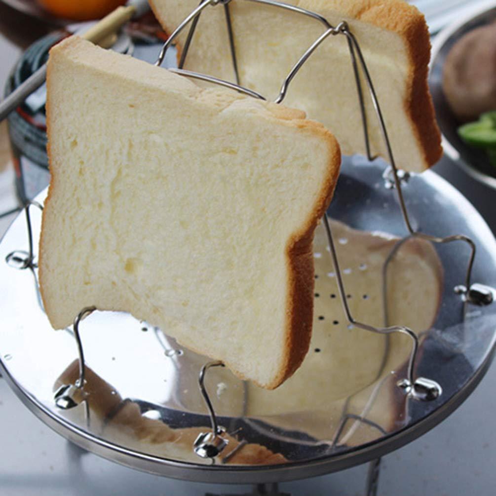 Rebanadas Plegable Acero Inoxidable Utensilios Cocina Acampar en la Barbacoa Fiesta Al Aire Libre Senderismo 4 Rack de Tostadora para Acampar