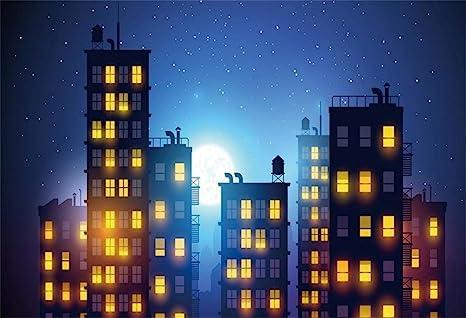 Amazoncom Lfeey 10x8ft Cartoon City Night View Photo Backdrop