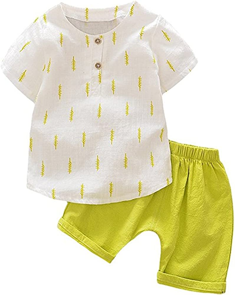 Shorts for Boys Cotton Linen Children Sets Toddler Kids Boys Sets Tops