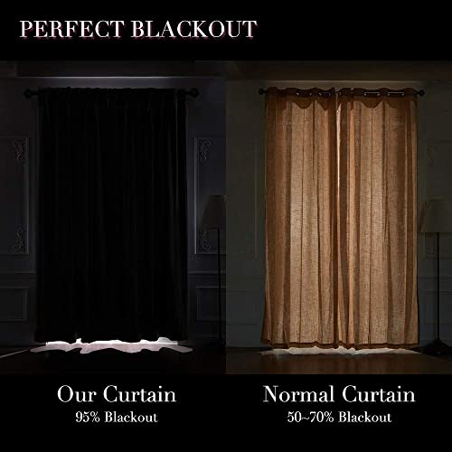 Dreaming Casa Blackout Curtain Thermal Insulated Bedroom Curtains Grommet Top Solid Curtains for Kids Rod Pocket Window Treatments Blackout 90 W x 90 L Black 2 Panels