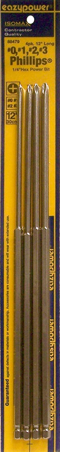 Eazypower 88479 No-0, 1, 2, 3 12-Inch Long Phillips Power (4-Pack) Eazypower 88479 #0 3 12 Long Phillips Power (4 Pack)