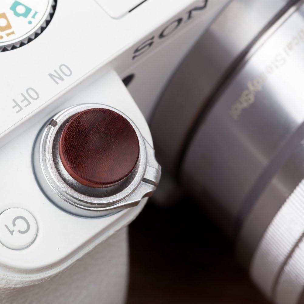 VKO handgefertigter Weichen Ausl/öseknopf Klebstoff geklebte Kamera-Taste f/ür Sony A7RIII A7III RX100 IV A6000 A6300 A6400 A6500 X-T100 X-T1 Konkaver Oberfl/äche Rot 1 St/ück Zuf/ällige Holzmaserung