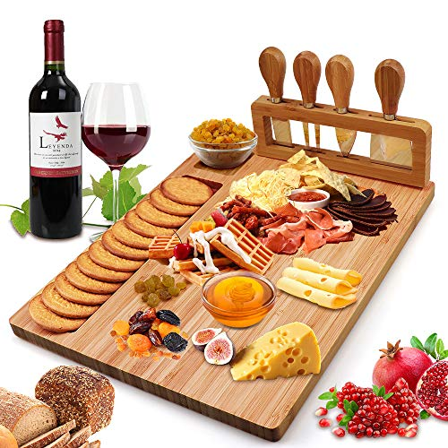 (Bamboo Cheese Board Set, Cheese Tray, Charcuterie Board and Serving Meat Platter with 4 Stainless Steel Cheese Knives, Ideal for Wedding Gifts Christmas Birthday Party (14''x11''))