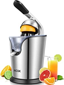 Aicok Electric Orange Juicer Squeezer Powerful 160W Citrus Juicer with Soft Grip Handle and Cone Lid for Easy Use, Two Size Cones for Different Citrus Fruits, Silver