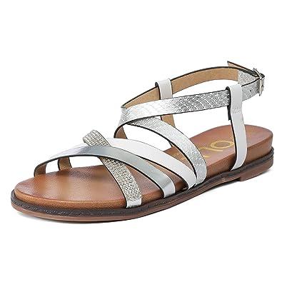 71d7364884067 Gracosy Sandales Femmes Plates, Chaussures Été Tongs en Cuir PU Nu Pieds à  Talons Plats
