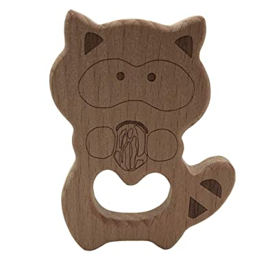 SEVENHOPE Gym Toys Teethers Baby Teething Goods Accessories Lovely Cartoon Wood Teether Toys: Toys & Games