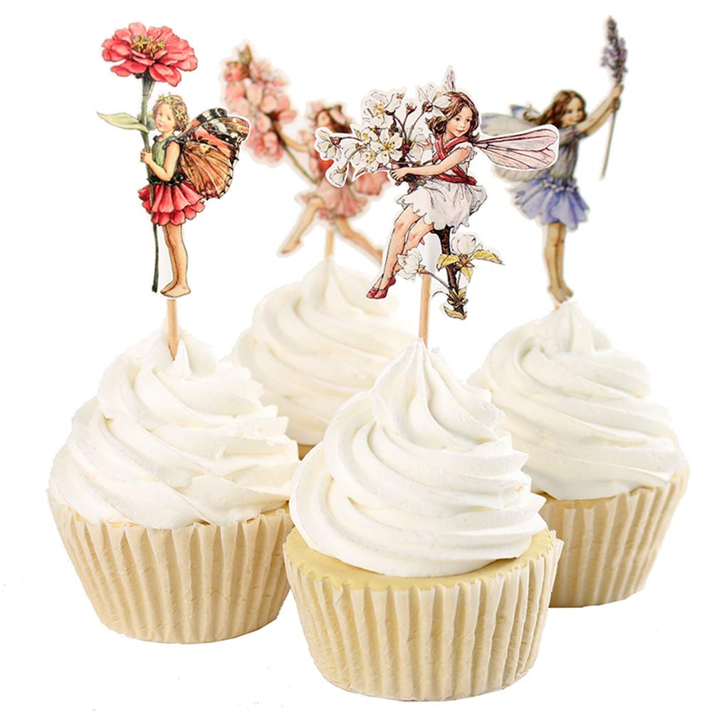 Tcplyn Premium 24Pcs Forest Fairy Cupcake Topper Kids Children Birthday Party Decoration Supplies