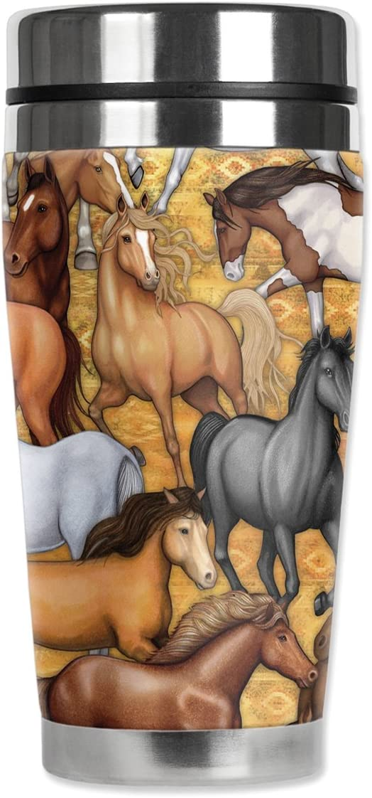 Mugzie Horse Faces Travel Mug with Insulated Wetsuit Cover 16 oz Black 1231-ZIE