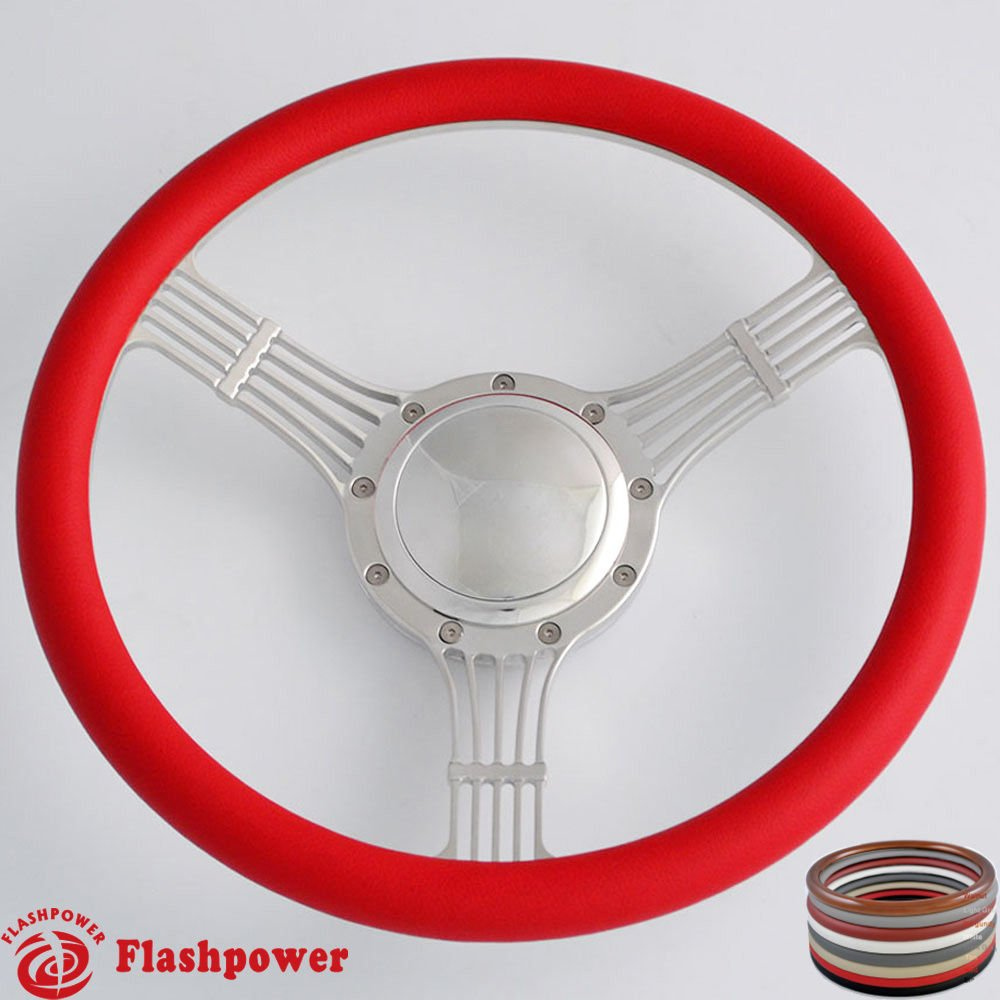 Burgundy Flashpower 14 Billet Banjo Half Wrap 9 Bolts Steering Wheel with 2 Dish and Horn Button