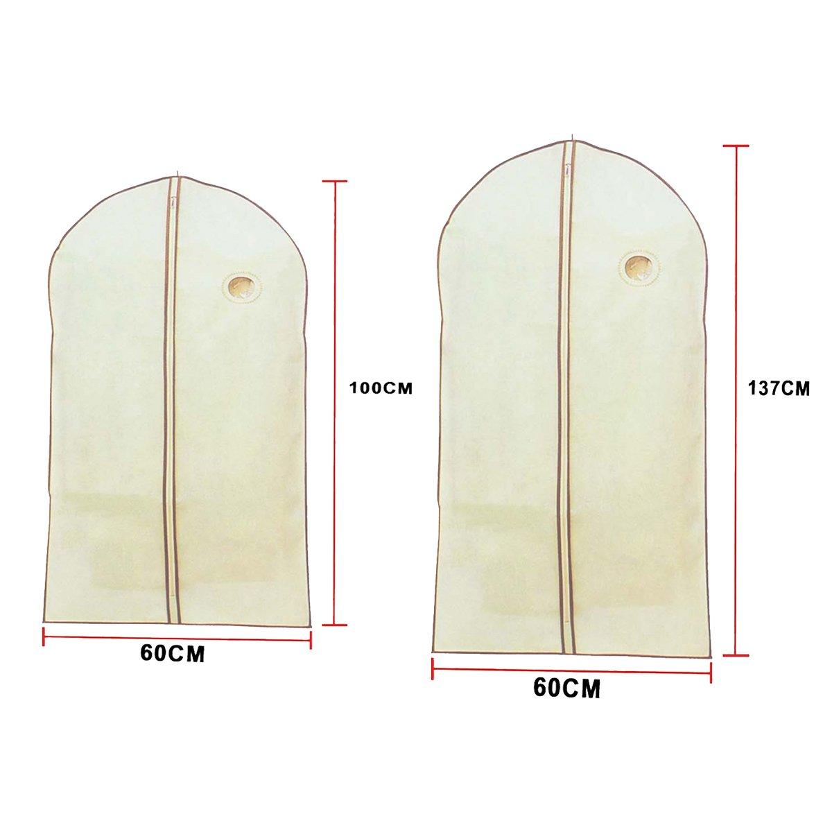 Pack de Dos Fundas Porta Traje Color Beige Medidas de 60x100 y 60x137 cm. Cisne 2013 S.L.