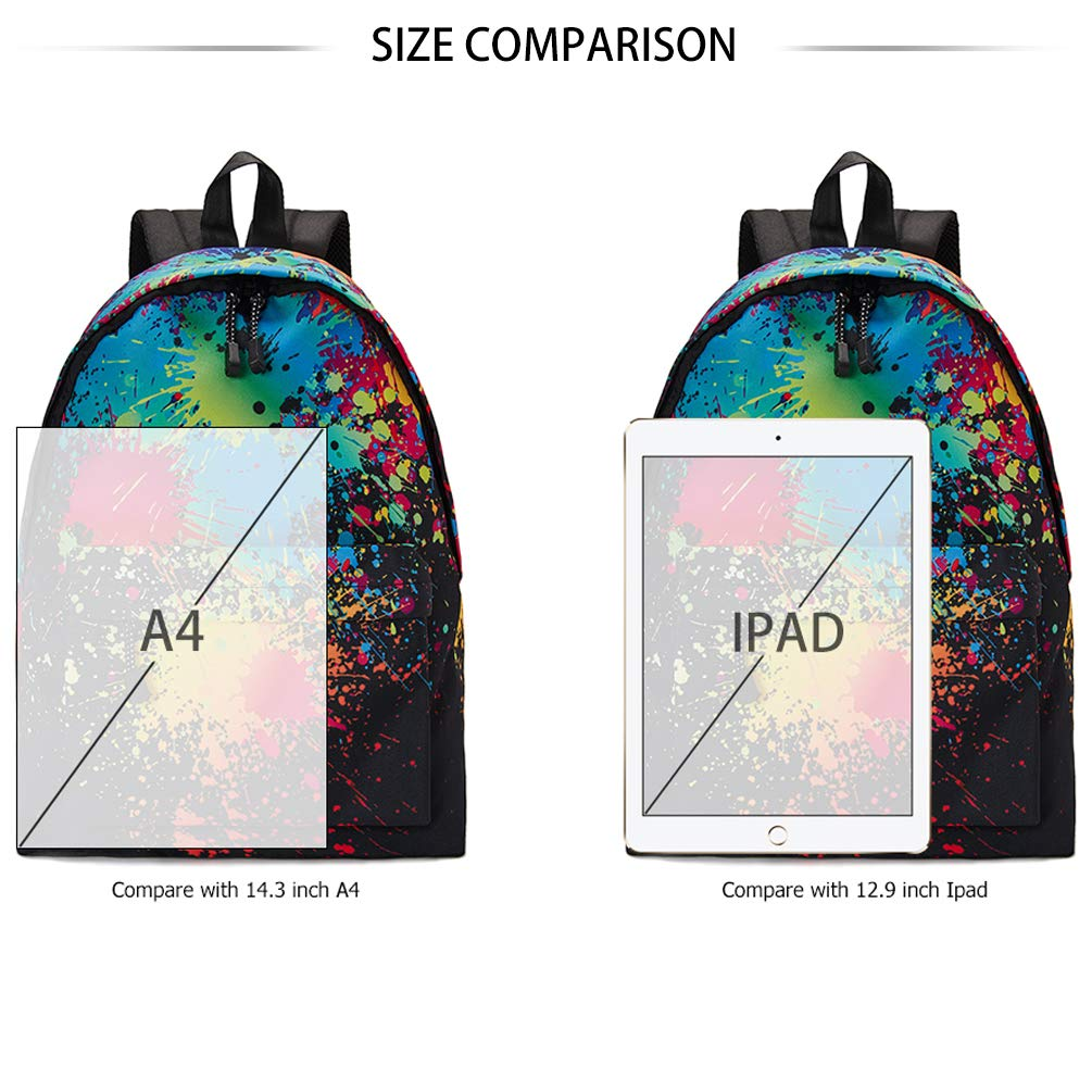 TUONROAD Teenage School Backpack 3D Printed Tiedye School Backpack Multi Pocket Printing Collection Backpack
