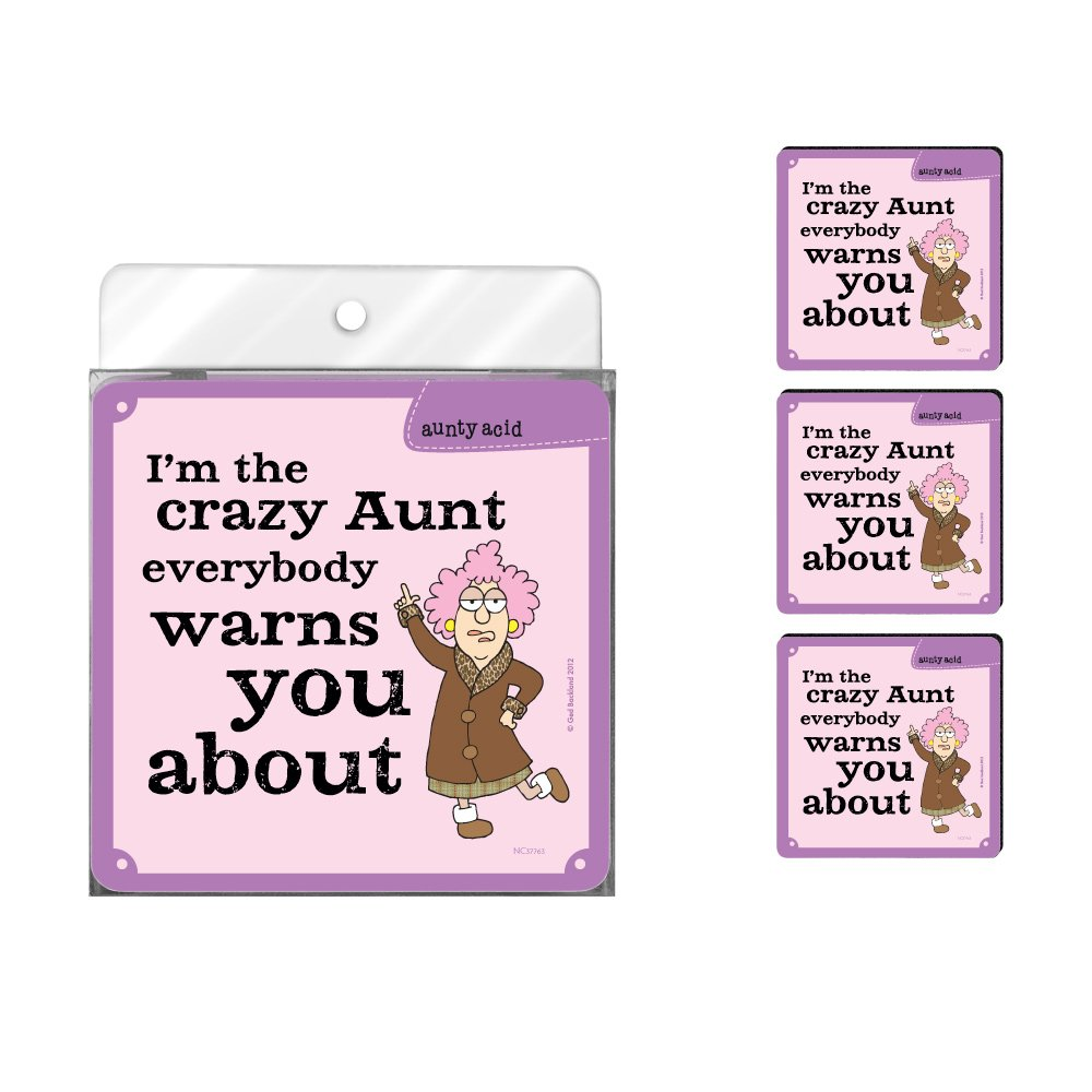 Tree-Free Greetings NC37763 Aunty Acid 4-Pack Artful Coaster Set, Crazy Aunt
