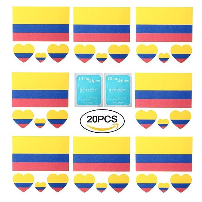 Blanketswarm 20 Hojas FIFA World Cup Top 32 Naciones Pequeña Cuerpo Cara Pegatina Banderas Nación Bandera Temporal Tatuaje Pegatinas 60 x 60mm (Colombia): ...