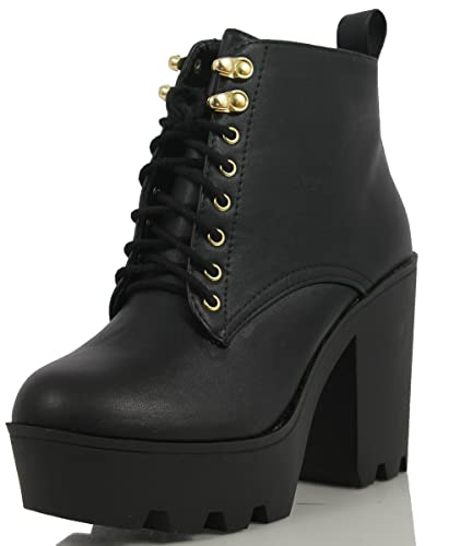 4ad13718eb6b SODA Women s Climate Faux Leather Lace-Up Thick Platform Chunky Heel Lug  Ankle Bootie